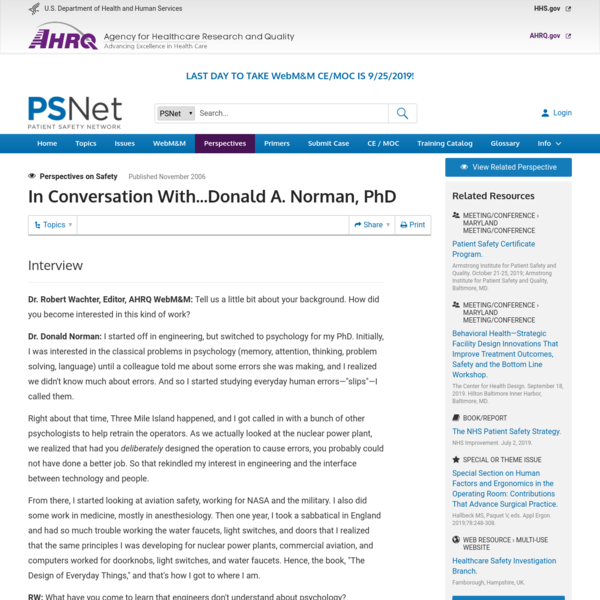 In Conversation With...Donald A. Norman, PhD