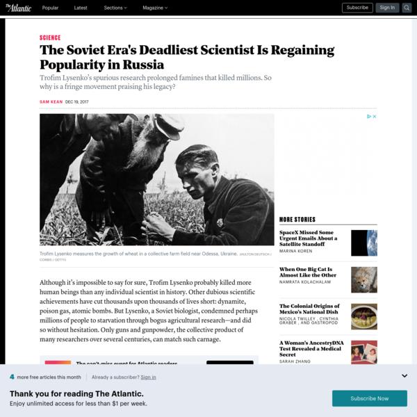 The Soviet Era's Deadliest Scientist Is Regaining Popularity in Russia