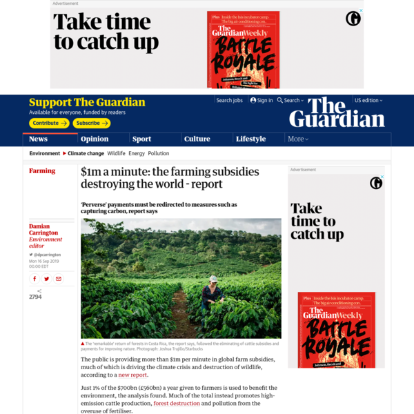 $1m a minute: the farming subsidies destroying the world - report