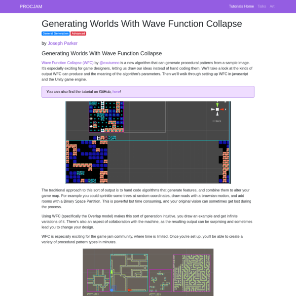 Generating Worlds With Wave Function Collapse