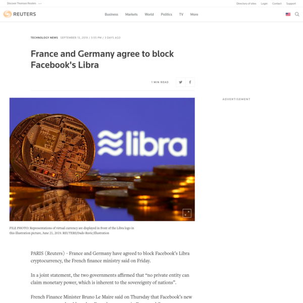 France and Germany agree to block Facebook's Libra