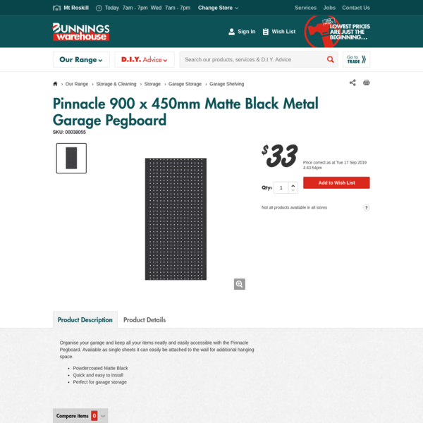 Pinnacle 900 x 450mm Matte Black Metal Garage Pegboard