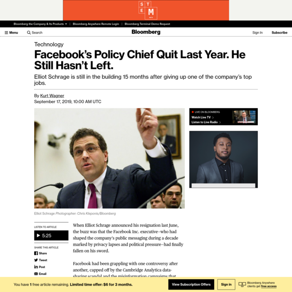 Facebook's Policy Chief Quit Last Year. He Still Hasn't Left. - Bloomberg