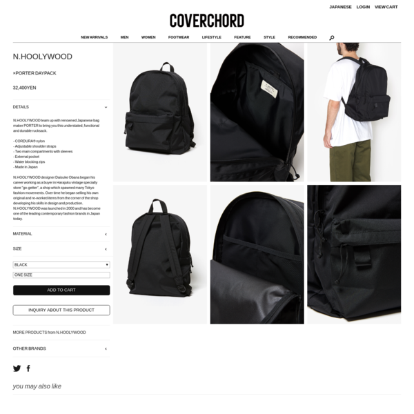 ×PORTER DAYPACK | BACKPACKS | COVERCHORD