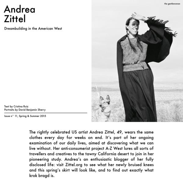The Gentlewoman - Andrea Zittel