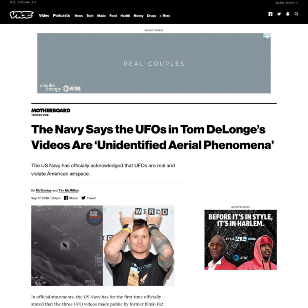 The Navy Says the UFOs in Tom DeLonge's Videos Are 'Unidentified Aerial Phenomena'