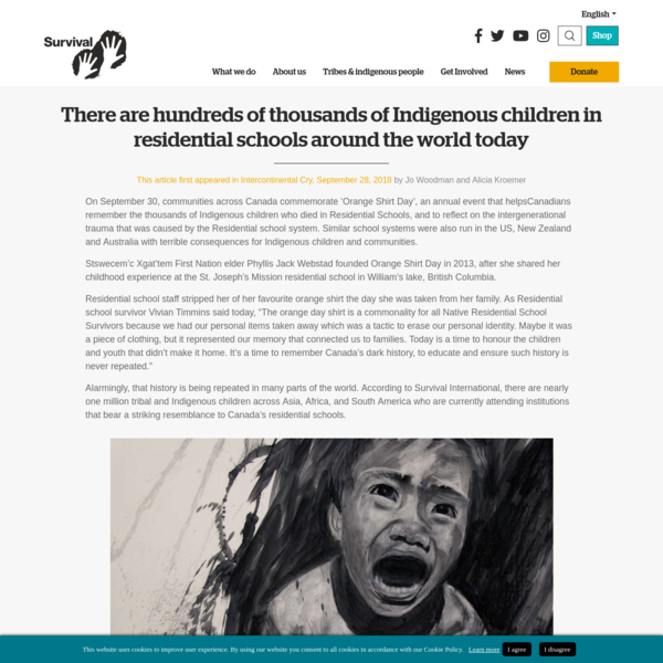 There are hundreds of thousands of Indigenous children in residential schools around the world today - Survival International