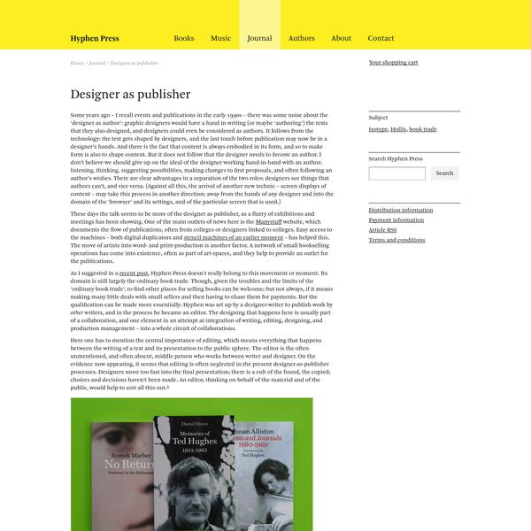 Designer as publisher