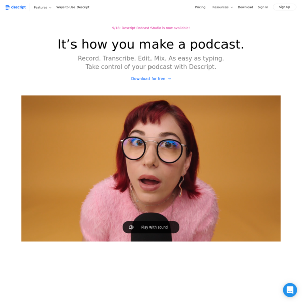 Descript | Create podcasts, videos, and transcripts