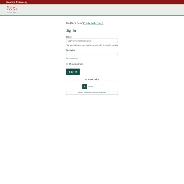 Sign in or Register   Stanford Lagunita