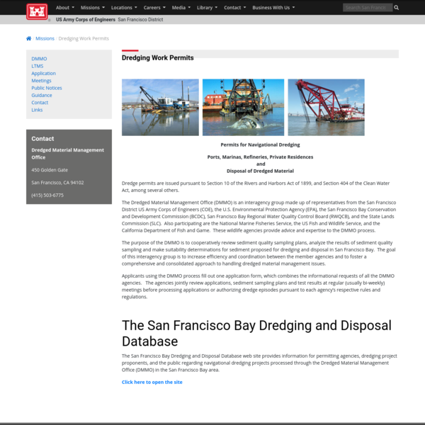 San Francisco District > Missions > Dredging Work Permits