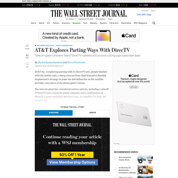 WSJ News Exclusive | AT&T Explores Parting Ways With DirecTV