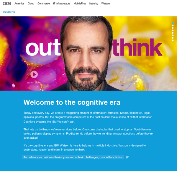 Cognitive Business by IBM. Discover how Watson is transforming business from digital to cognitive to help solve some of the world's biggest challenges.