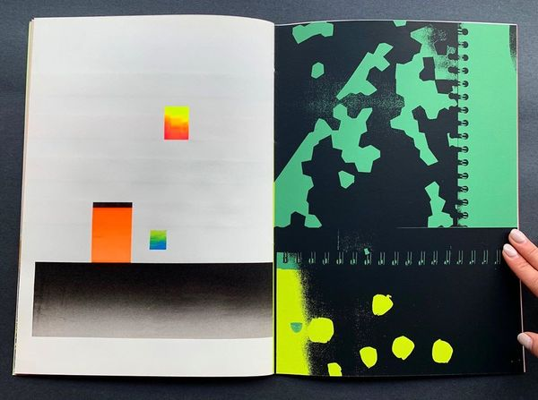 Christian Gfeller's, Pour un Abstractionnisme is a screen printed artist book with vivid abstractions. The colors and patter...