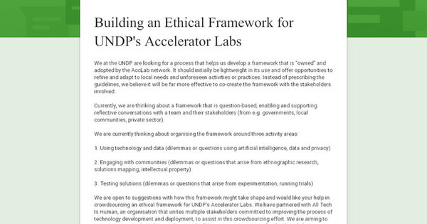 Building an Ethical Framework for UNDP's Accelerator Labs