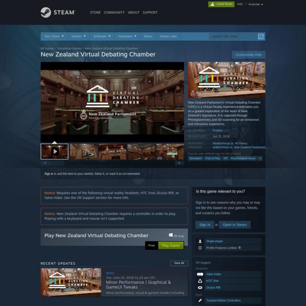 New Zealand Virtual Debating Chamber on Steam
