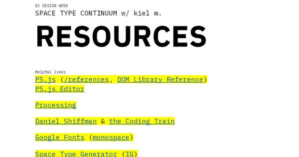 #DCDW: Space Type Resources