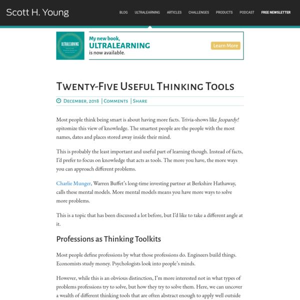 Twenty-Five Useful Thinking Tools | Scott H Young