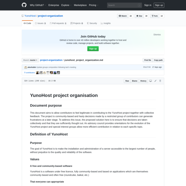 YunoHost/project-organization