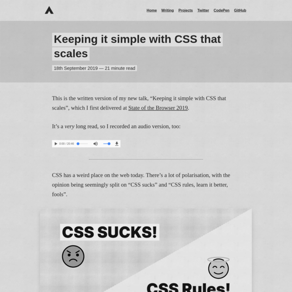 Keeping it simple with CSS that scales - Andy Bell