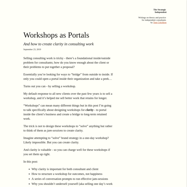 Workshops as Portals