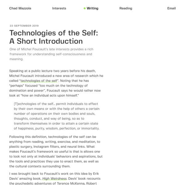 Technologies of the Self: A Short Introduction