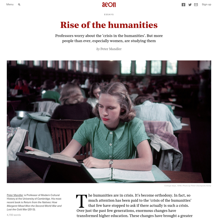 The humanities are in crisis. It's become orthodoxy. In fact, so much attention has been paid to the 'crisis of the humanities' that few have stopped to ask if there actually is such a crisis. Over just the past few generations, enormous changes have transformed higher education.