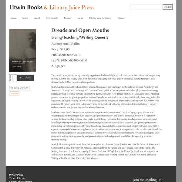 Dreads and Open Mouths | Litwin Books & Library Juice Press