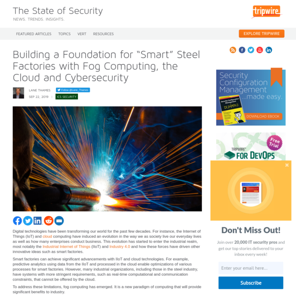 """A Foundation for """"Smart"""" Steel Factories with Fog Computing, the Cloud and Cybersecurity"""