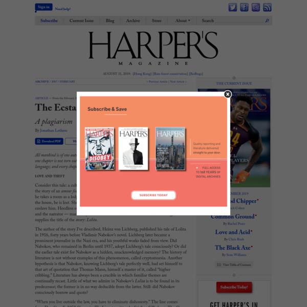 The Ecstasy of Influence | Harper's Magazine