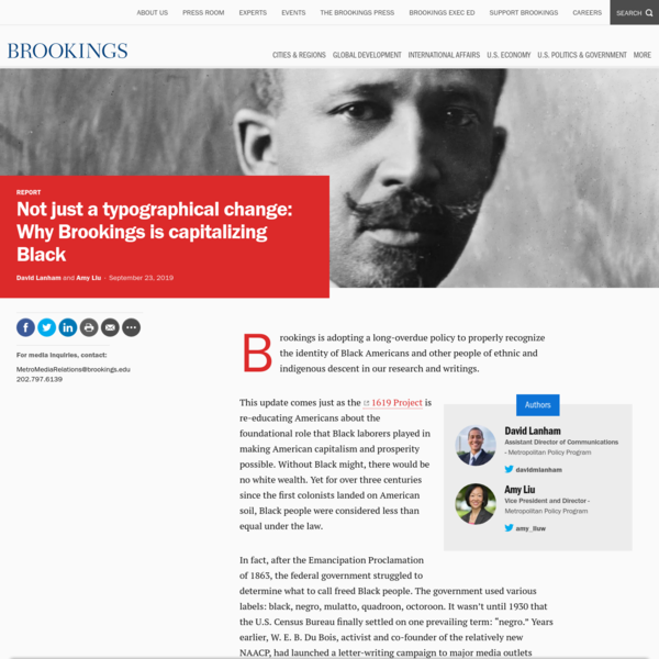 Not just a typographical change: Why Brookings is capitalizing Black