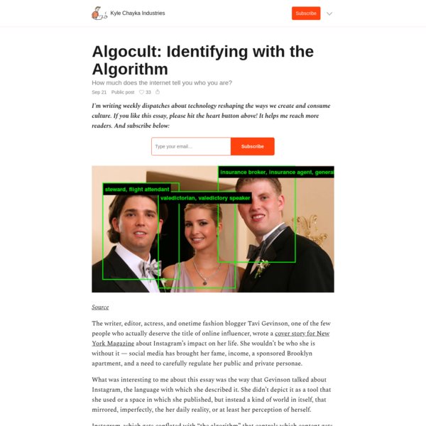Algocult: Identifying with the Algorithm