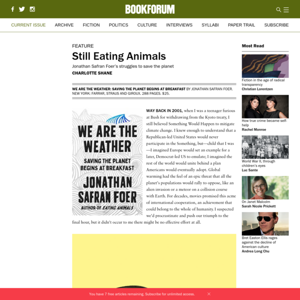 Jonathan Safran Foer's struggles to save the planet - Charlotte Shane - Bookforum Magazine