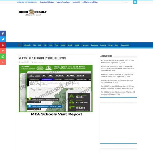 Check MEA Visit Report online by pmiu.pitb.gov.pk