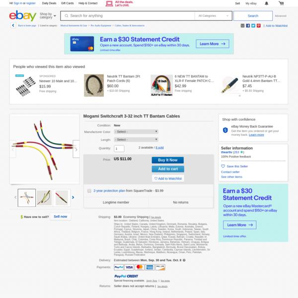 Mogami Switchcraft 3-32 inch TT Bantam Cables | eBay