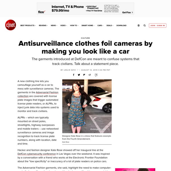 Anti-surveillance clothes foil cameras by making you look like a car