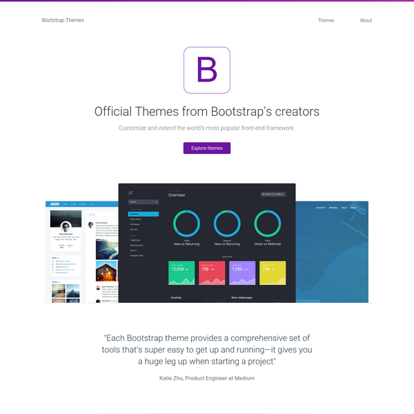 Each theme was designed as its own extended version of Bootstrap, built for a specific set of problems-dashboards, web apps, or marketing pages. To do this we've not only extended many of your favorite parts of Bootstrap, but also introduced dozens of completely new utilities, components, and plugins.