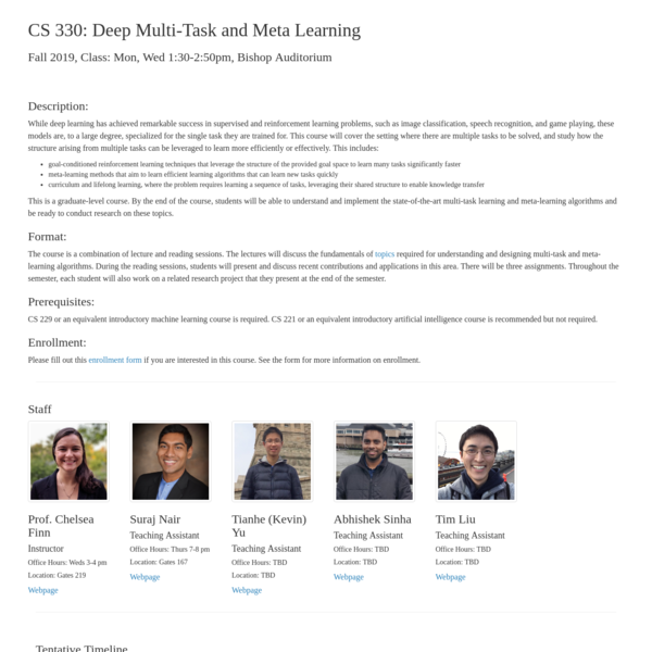 CS 330 Deep Multi-Task and Meta Learning