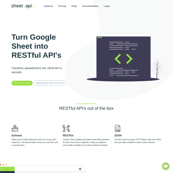 Turn Google Sheet's into JSON RESTful API.
