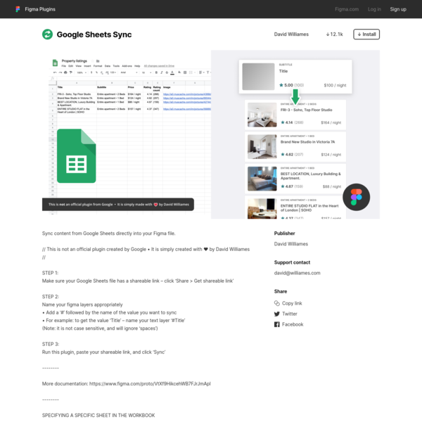 Figma - Google Sheets Sync | Sync content from Google Sheets directly into your Figma file. // This is not an official plugi...