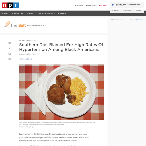 Southern Diet Blamed For High Rates Of Hypertension Among Black Americans