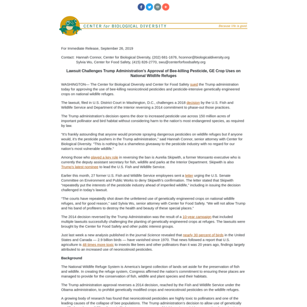 Lawsuit Challenges Trump Administration's Approval of Bee-killing Pesticide, GE Crop Uses on National Wildlife Refuges