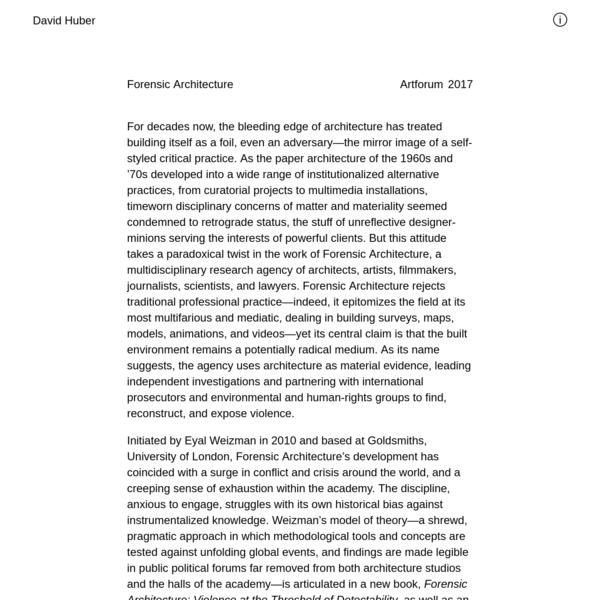 Forensic Architecture | David Huber
