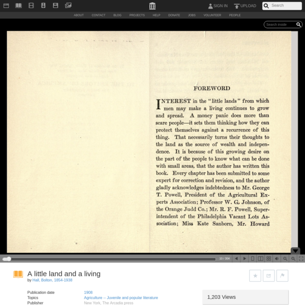 A little land and a living : Hall, Bolton, 1854-1938 : Free Download, Borrow, and Streaming : Internet Archive