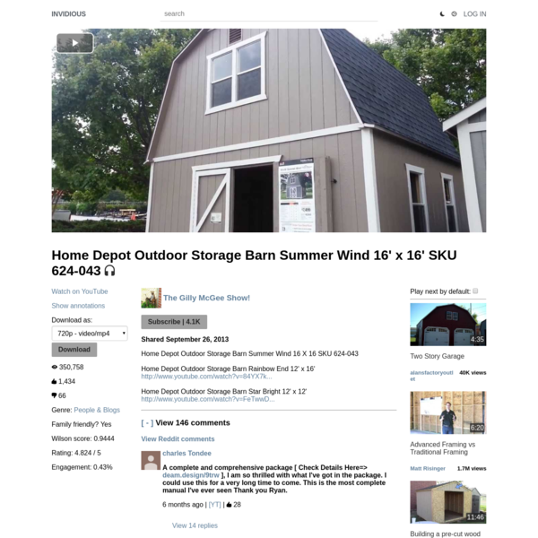 Home Depot Outdoor Storage Barn Summer Wind 16' x 16' SKU 624-043