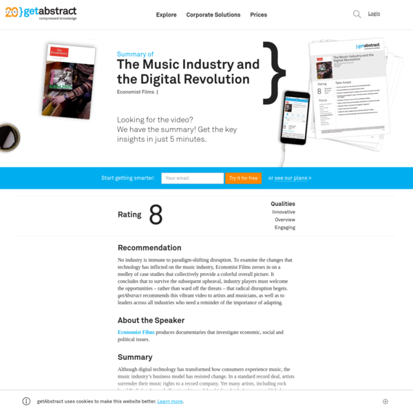 The Music Industry and the Digital Revolution Free Summary by Economist Films