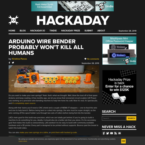 Arduino Wire Bender Probably Won't Kill All Humans | Hackaday