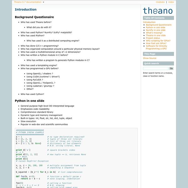 Introduction - Theano 0.7 documentation