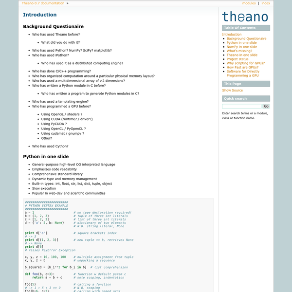 Introduction - Theano 0.7 documentation