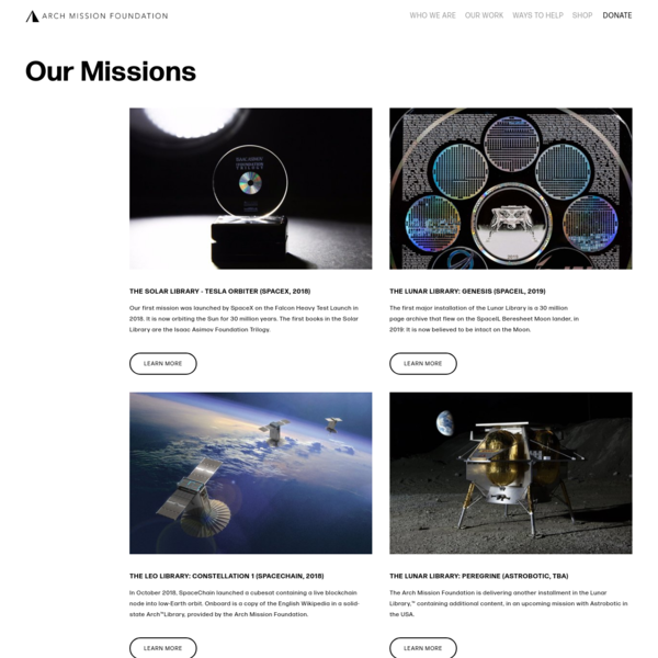 Missions - Arch Mission Foundation